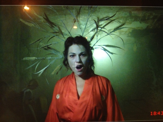 Studies in Space (A Tate Bunker Film); still of Amanda Schoofs performing her original music in the film